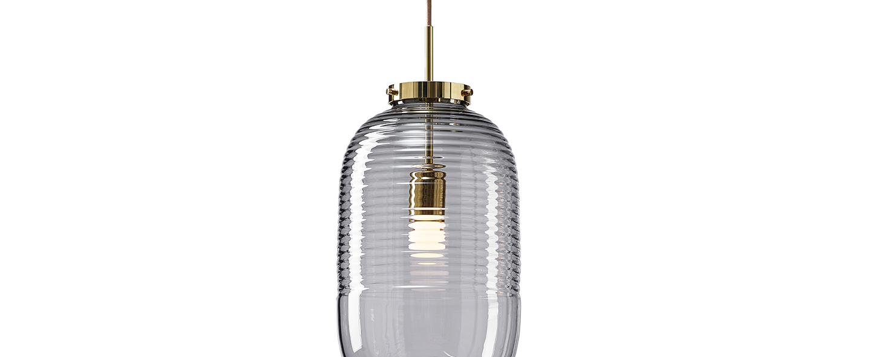 Suspension lantern fume laiton poli o25cm h50 5cm bomma normal