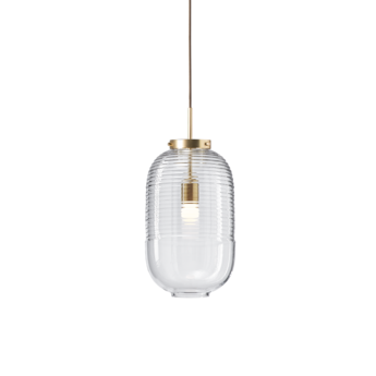 Suspension lantern transparent laiton patine o25cm h50 5cm bomma normal