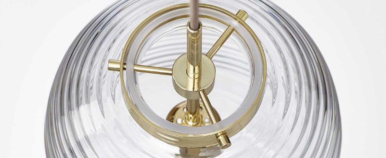 Suspension lantern transparent laiton poli o25cm h50 5cm bomma normal