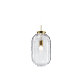 Suspension lantern transparent laiton poli o25cm h50 5cm bomma normal