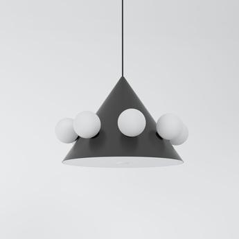 Suspension large cone with globes 471 noir et blanc o43cm h30cm atelier areti normal