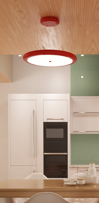 Suspension led dimable radius single rouge o65cm ilomio normal
