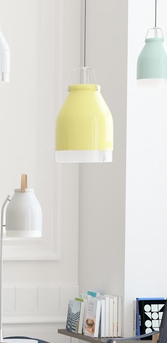 Suspension led wifi cowbell jaune pastel h30cm ilomio normal