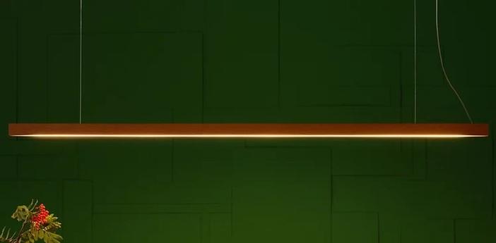 Suspension led40 pendant chene naturel led 3000k 1800lm l160cm h4cm tunto normal
