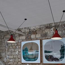 Les acrobates de gras n 323 bernard albin gras suspension pendant light  dcw 323 sha xl in conic red  design signed nedgis 103382 thumb