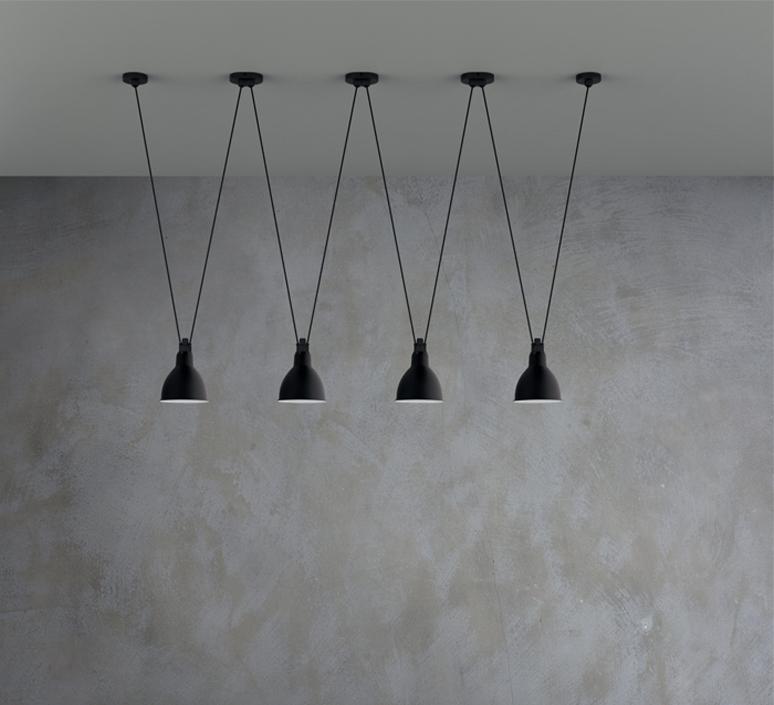 Les acrobates de gras n 324 bernard albin gras suspension pendant light  dcw  2 324  4 sha l round black part ac3  design signed nedgis 103533 product