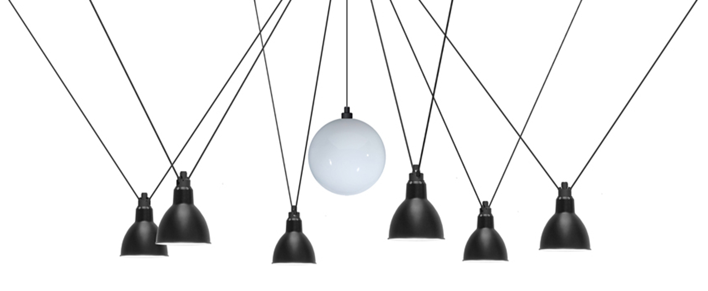 Suspension les acrobates de gras n 327 opalin et noir interieur blanc o25 17cm h25 17cm dcw editions paris normal