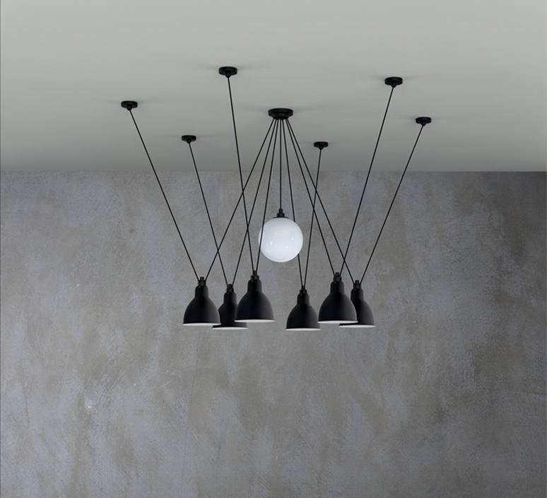 Les acrobates de gras n 327 bernard albin gras suspension pendant light  dcw 327  1 glass ball 250  6 sha l round black  design signed nedgis 103584 product