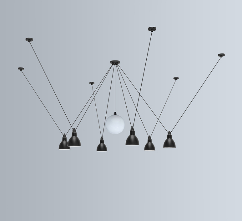 Les acrobates de gras n 327 bernard albin gras suspension pendant light  dcw 327  1 glass ball 250  6 sha l round black  design signed nedgis 103585 product