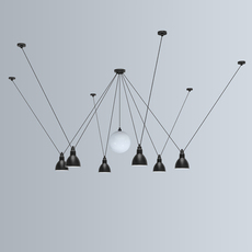Les acrobates de gras n 327 bernard albin gras suspension pendant light  dcw 327  1 glass ball 250  6 sha l round black  design signed nedgis 103585 thumb