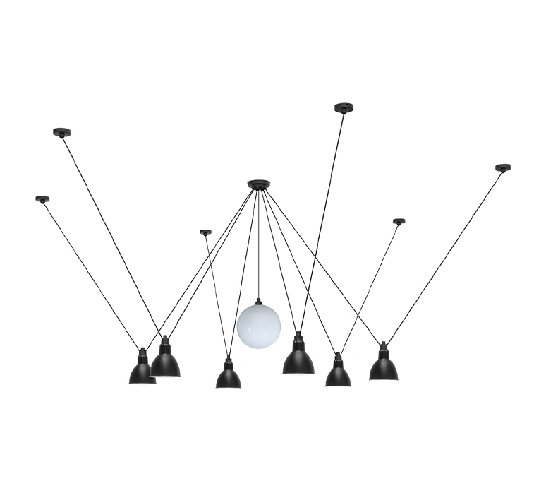 Les acrobates de gras n 327 bernard albin gras suspension pendant light  dcw 327  1 glass ball 250  6 sha l round black  design signed nedgis 103586 product