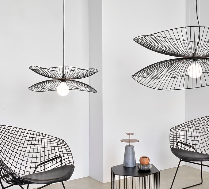 suspension libellule s noir led 56cm h20cm forestier luminaires nedgis. Black Bedroom Furniture Sets. Home Design Ideas