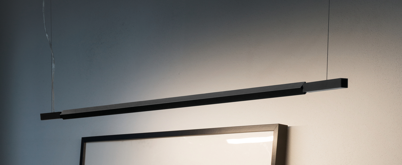 Suspension linescapes horizontal noir led 2700k 1765lm ip44 dimmable l195cm h2cm nemo lighting normal