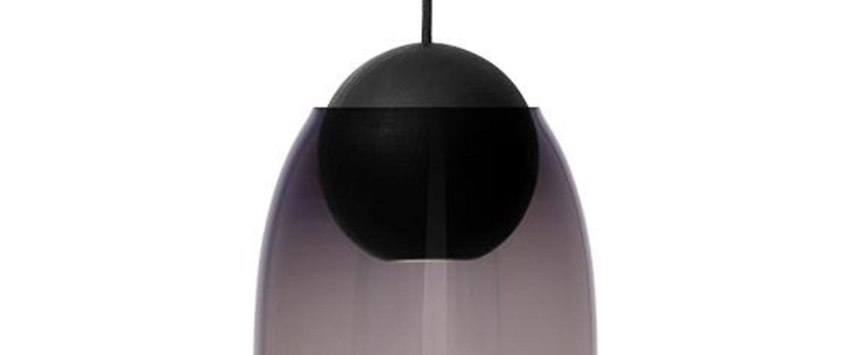 Suspension liuku avec abat jour verre colore bois noir o19 5cm h34 5cm mater normal