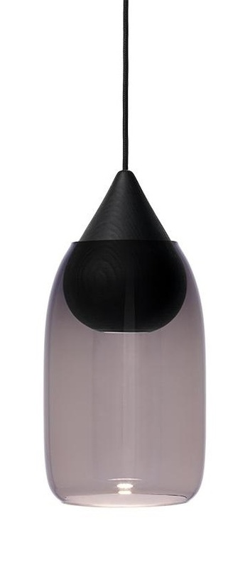 Suspension liuku avec abat jour verre colore bois noir o19 5cm h40 5cm mater normal