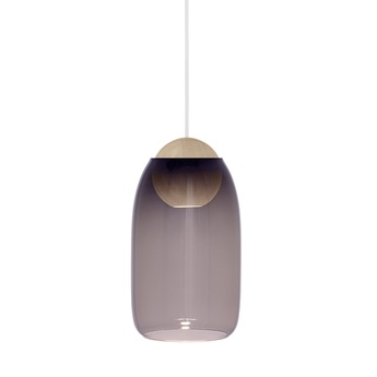 Suspension liuku avec abat jour verre colore bois o19 5cm h34 5cm mater normal