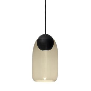 Suspension liuku avec abat jour verre fume bois noir o19 5cm h34 5cm mater normal