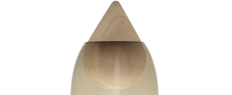 Suspension liuku avec abat jour verre fume bois o19 5cm h40 5cm mater normal