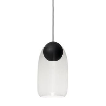 Suspension liuku avec abat jour verre transparent bois noir o19 5cm h34 5cm mater normal