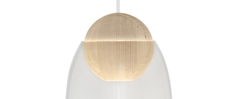 Suspension liuku avec abat jour verre transparent bois o19 5cm h34 5cm mater normal