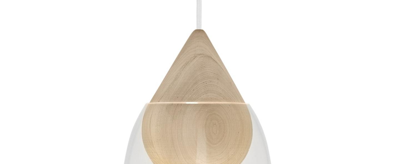 Suspension liuku avec abat jour verre transparent bois o19 5cm h40 5cm mater normal
