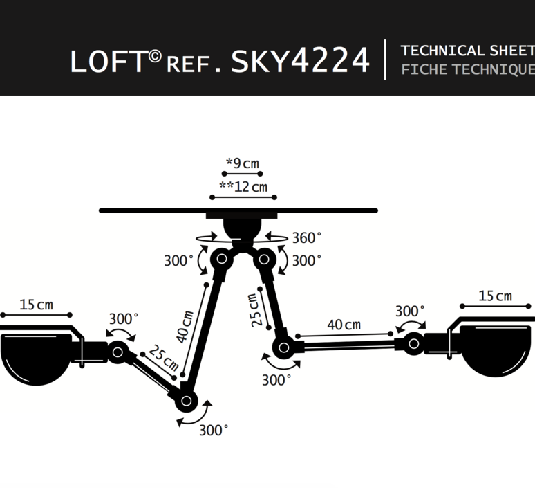 Loft sky jean louis domecq suspension pendant light  jielde sky4224 ral9011  design signed 36836 product