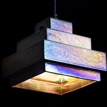 Suspension lustre light square iridescent l15cm h13cm tom dixon normal