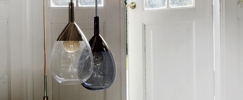 Suspension lute transparent platinium o22cm ebb and flow normal