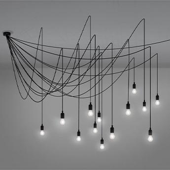 Suspension maman noir ampoules transparentes o200cm h200cm seletti normal