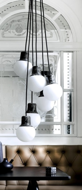 Suspension mass light chandelier noir o37cm h18cm andtradition normal