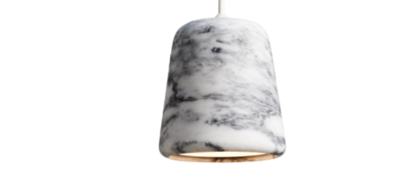 Suspension material white marble blanc h14cm o 13 cm new works normal
