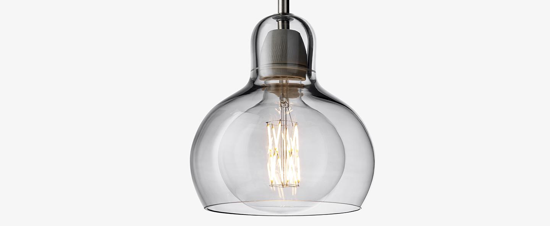 Suspension mega bulb sr2 argent transparent o18cm h23cm andtradition normal