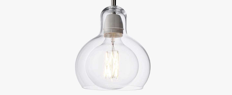 Suspension mega bulb sr2 transparent noir o18cm h23cm andtradition normal