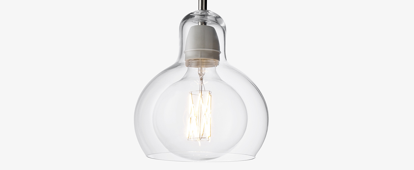 Suspension mega bulb sr2 transparent o18cm h23cm andtradition normal