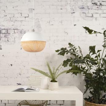 Suspension mekong round blanc bambou o40cm h32cm good mojo normal
