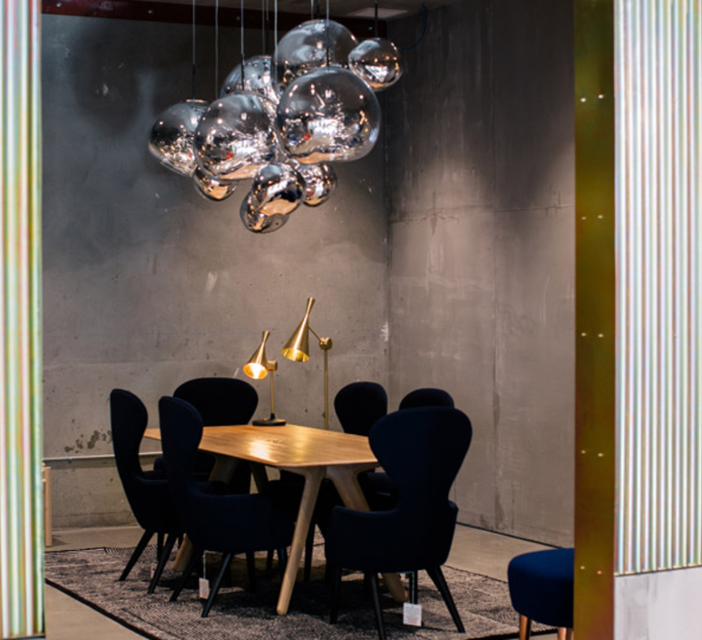 suspension melt chrome h50cm 50cm tom dixon luminaires nedgis. Black Bedroom Furniture Sets. Home Design Ideas