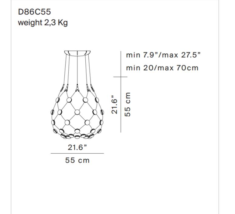 Mesh d86c55 francisco gomez paz suspension pendant light  luceplan 1d860c550001  design signed 54793 product