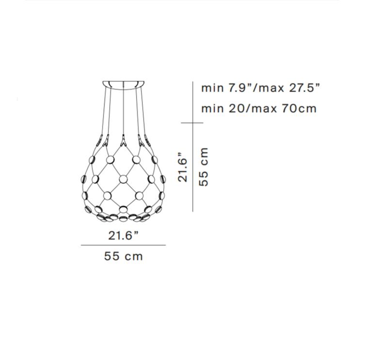 Mesh d86c55 francisco gomez paz suspension pendant light  luceplan 1d860c550001  design signed 55383 product
