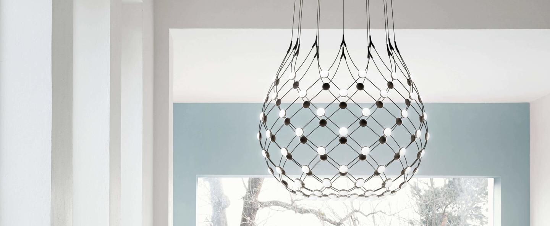 Suspension mesh d86n noir led 2700k 3252lm o100cm h190cm 1m luceplan 1d860n000001 1d860 t11001 normal