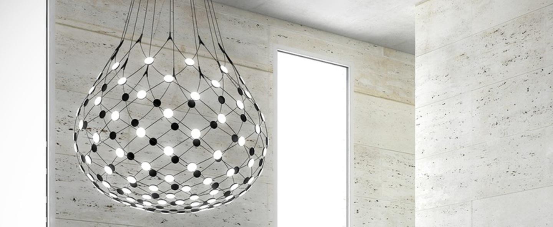 Suspension mesh d86n noir led 2700k 3252lm o100cm h90cm 4m luceplan normal