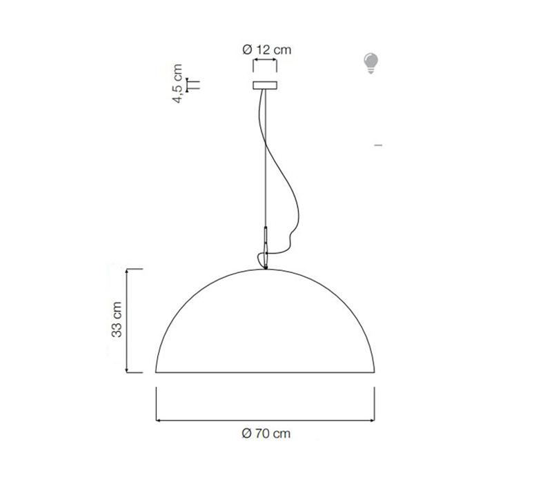 Mezza luna 1 ociluman suspension pendant light  in es artdesign in es0501n o  design signed nedgis 115816 product