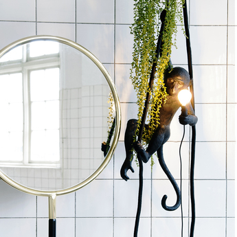 Suspension monkey ceiling noir h76cm seletti normal