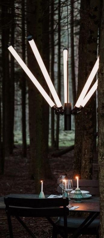 Suspension mr tubes led chandelier noir l96cm h38cm tonone normal