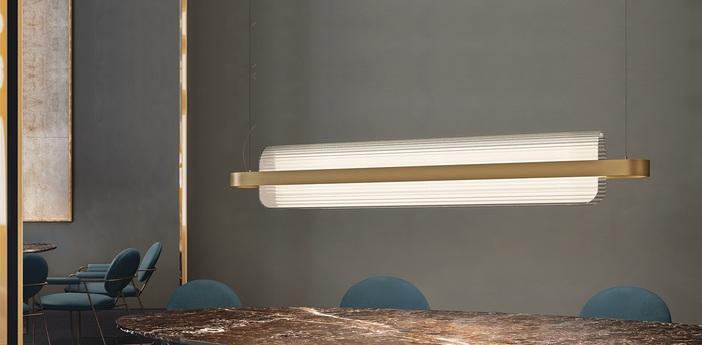 Suspension nami laiton led l150cm h23cm kundalini normal