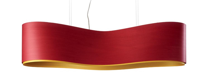 Suspension new wave s rouge et jaune led h27 5cm l102cm lzf normal
