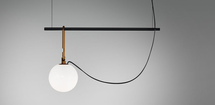 Suspension nh s1 blanc laiton noir l58cm h32 2cm artemide normal