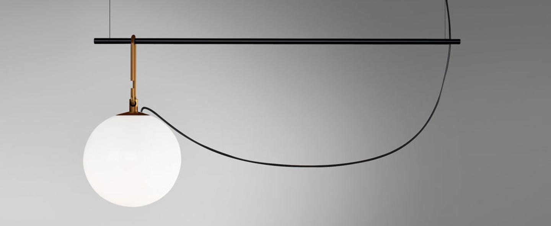 Suspension nh s1 blanc laiton noir l58cm h40 3cm artemide normal