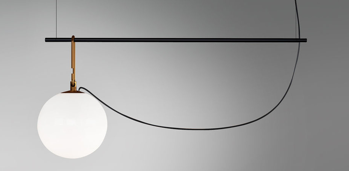 Suspension nh s1 blanc laiton noir l58cm h40 3cm artemide normal