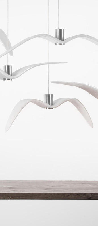 Suspension night birds blanc et argent led o590cm h170cm brokis normal
