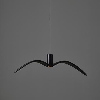 Suspension nights birds pc1112 verre gris fume corps noir cable noir ip54 l73cm h18 8cm brokis normal